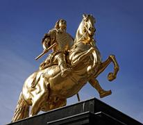 Germany, Saxony, Dresden, view to equestrian statue 'Golden Rider' Stock Photos