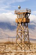 Guard tower searchlight manzanar national historic site california Stock Photos