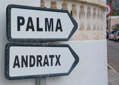 road sign palma andratx - stock photo
