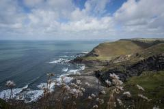 United Kingdom, England, Cornwall, Atlantic Coast, High Cliff - stock photo