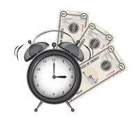 Alarm clock with bills isolated over white background. vector Stock Illustration