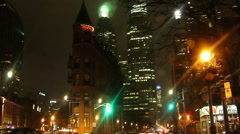 Toronto Street at Night Front & Church St Stock Footage