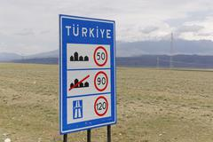 Turkey, Dogubeyazit Province, speed limit sign - stock photo
