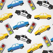 Pattern of small police cars, taxis and traffic lights Piirros