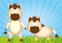 Cute cartoon horses with grass and sky, vector Stock Illustration