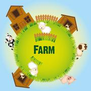 Farm animals and barn, vector illustration Stock Illustration