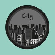 label of buildings on turquoise background, vector illustration - stock illustration