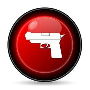 gun icon. internet button on white background.. - stock illustration