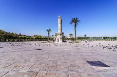 Turkey, Izmir, Aegean Region, Konak Square, Clock Tower, Izmir Saat Kulesi Stock Photos