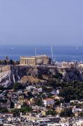 Greece, Athens, cityscape from Mount Lycabettus with Acropolis - stock photo