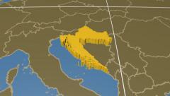 Croatia extruded. Solids. Graticule. Stock Footage