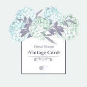 Stock Illustration of Gentle Blue Vintage Floral Greeting Card