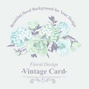 Gentle Blue Vintage Floral Greeting Card - stock illustration