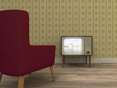 Old television and red armchair in a retro styled living room Stock Illustration