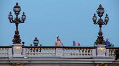 Tourist on Pont Alexandre III bridge - Paris France Stock Footage