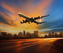 beautiful lighting of vehicle in land transportation and passenger jet plane - stock photo