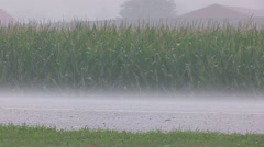 Severe thunder storm heavy rain and swirling clouds approaches crops on farm. Stock Footage