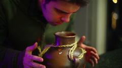 mysterious magical pot jar - stock footage