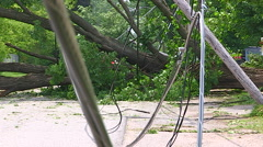 Severe thunderstorm damage after tornado warned storm in Ontario Canada Stock Footage