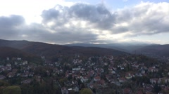 4k Wernigerode and mountain range Harz clouds timelapse Stock Footage