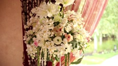 wedding decor in the restaurant - stock footage