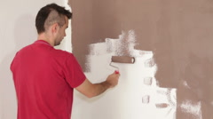 Man painting interior Stock Footage