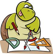 Stock Illustration of turtle with calipers cartoon illustration