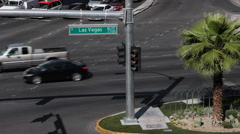 Las Vegas Boulevard Street Sign Crossroad Board Establishing Shot Cars Traffic Stock Footage