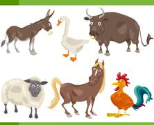 Stock Illustration of farm animals cartoon set illustration