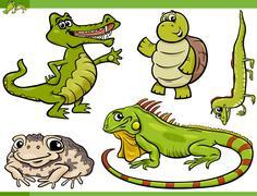 Stock Illustration of reptiles and amphibians cartoon set