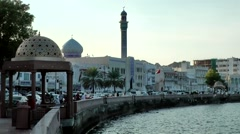 Arabia Orient Oman sultanate city of Muttrah (Matrah) 142 corniche at evening Stock Footage
