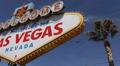 Panoramic View Pan Left Establishing Shot Fabulous Las Vegas Welcome Nevada Sign Footage