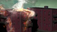 cg building on fire - stock footage