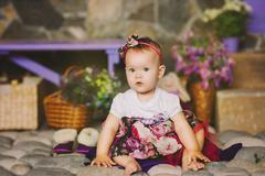 the child in a multi-colored dress 4 - stock photo