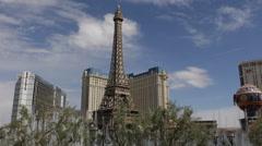 Paris Hotel Casino Eiffel Tower Las Vegas Landmarks Bellagio Water Fountain Show Stock Footage