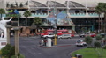 Las Vegas Strip Crossroad Crowded Street Busy Cars Passing Sidewalk People Walk Footage