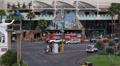 Las Vegas Strip Crossroad Crowded Street Busy Cars Passing Sidewalk People Walk HD Footage