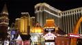 Venetian Hotel Casino Neon Signs Famous Brands Las Vegas Illuminated Night Light Footage