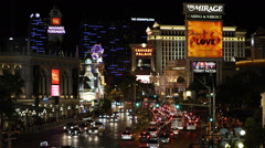 Iconic Las Vegas Strip Neon Signs Nightlife Sightseeing Landmark Night Lights US - stock footage