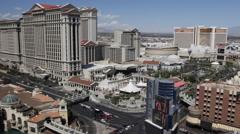 Establishing Shot Las Vegas Cityscape Aerial View Skyline Famous Landmark Hotels Stock Footage