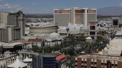 Mirage Hotel Las Vegas Aerial View Skyline Commuter Commute Cars Passing Traffic Stock Footage