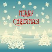 Merry christmas ornament landscape Stock Illustration
