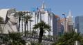 Monorail Departure Train Passing Las Vegas Iconic Sight Egyptian Sphinx Landmark HD Footage