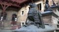 Medieval castle armoured stone sculptures tilt shot HD Footage