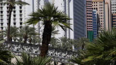 Monorail Departing Train Passing Las Vegas Landmark Tourist Attraction Ride Tour Stock Footage