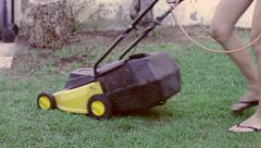 Lawn mower in action Stock Footage