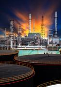 Oil storage tank and petrochemical refinery plant Stock Photos