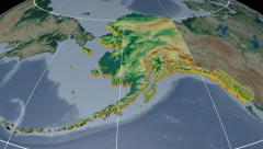 Alaska extruded. Bumps shaded. Graticule. Stock Footage