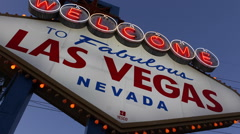 Establishing Shot Fabulous Las Vegas Welcome Neon Sign Landmark Dusk Blue Lights Stock Footage