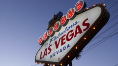 Famous Iconic Fabulous Las Vegas Welcome Neon Sign Illuminated Bulb Lights Night Stock Footage